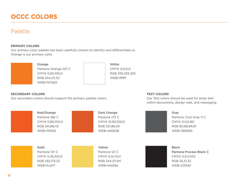 Occc Colors Palette Primary Our Color Has Been Carefully Chosen To Identify And