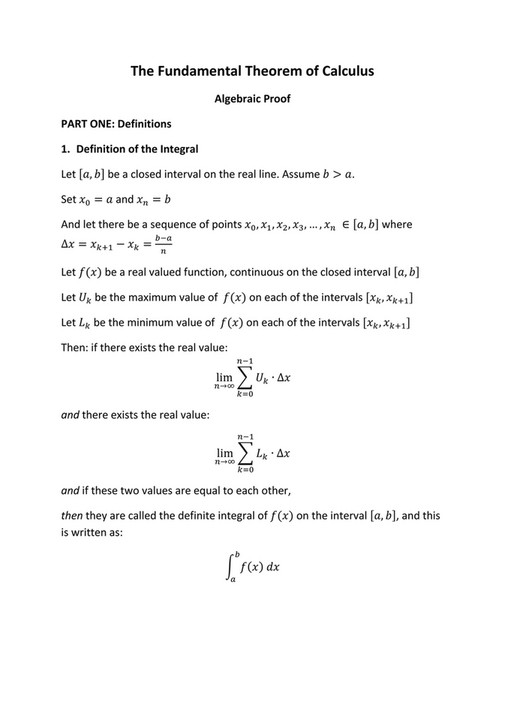 The Fundamental Theorem Of Calculus Algebraic Proof PART ONE: Definitions  1. Definition Of The