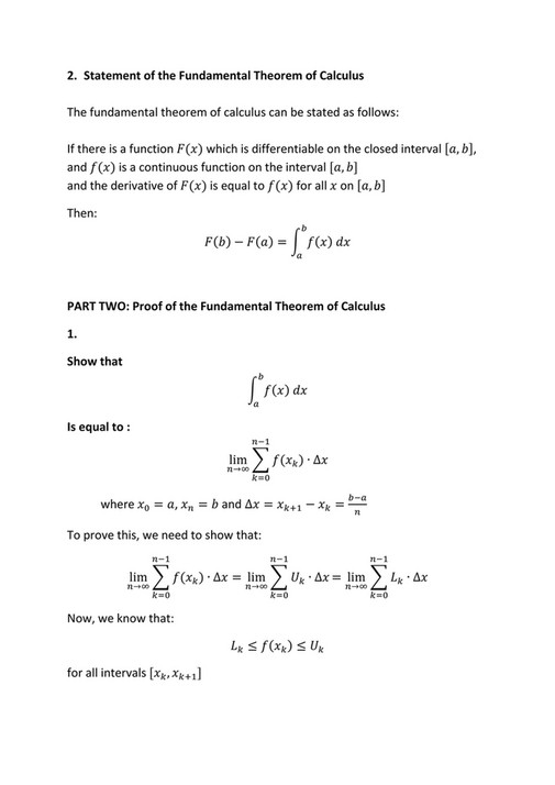 Calculus - Fundamental Theorem of Calculus Algebraic proof