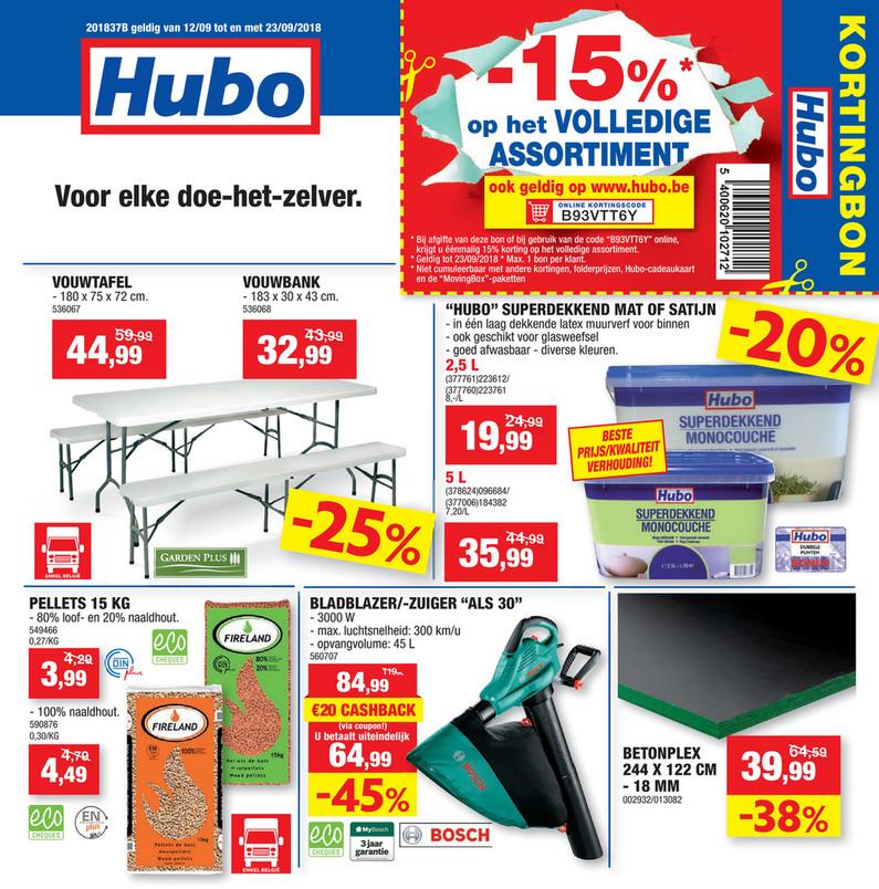 Hubo folder van 12/09/2018 tot 23/09/2018 - Promoties van de week 37