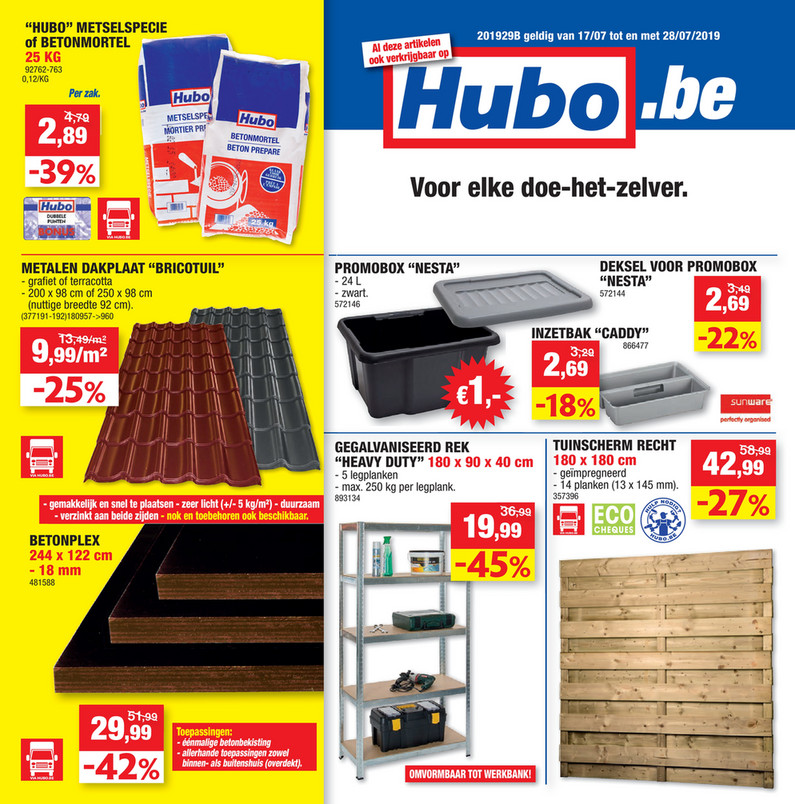 Hubo folder van 18/07/2019 tot 28/07/2019 - Weekpromoties 29