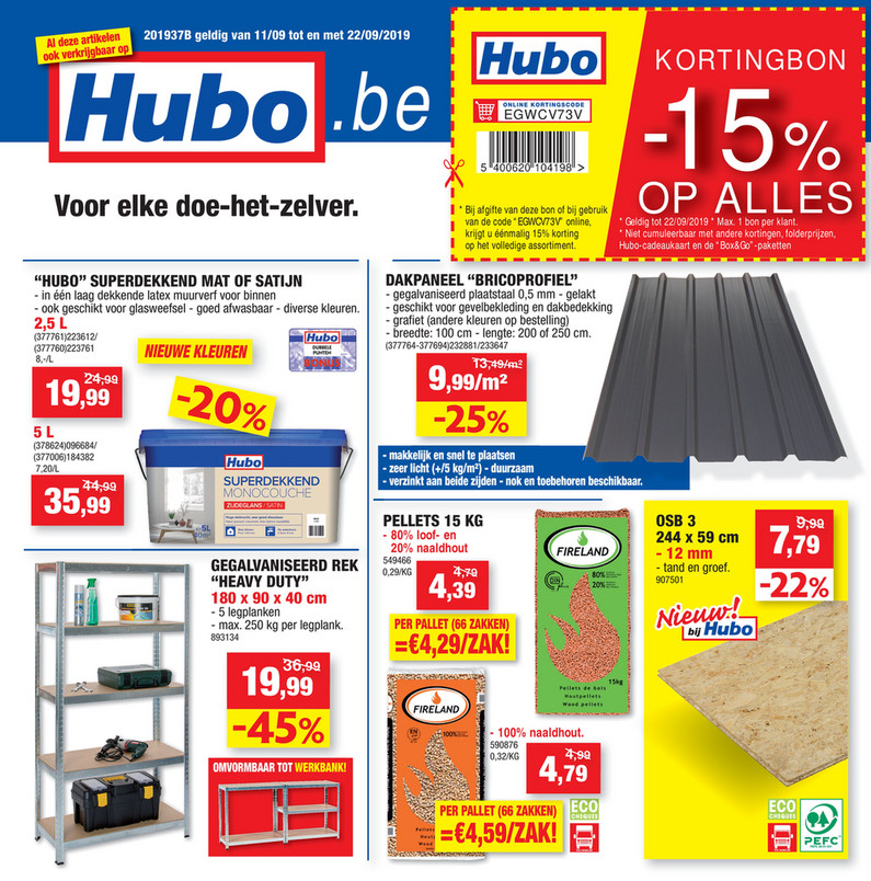 Hubo folder van 11/09/2019 tot 22/09/2019 - Weekpromoties 37