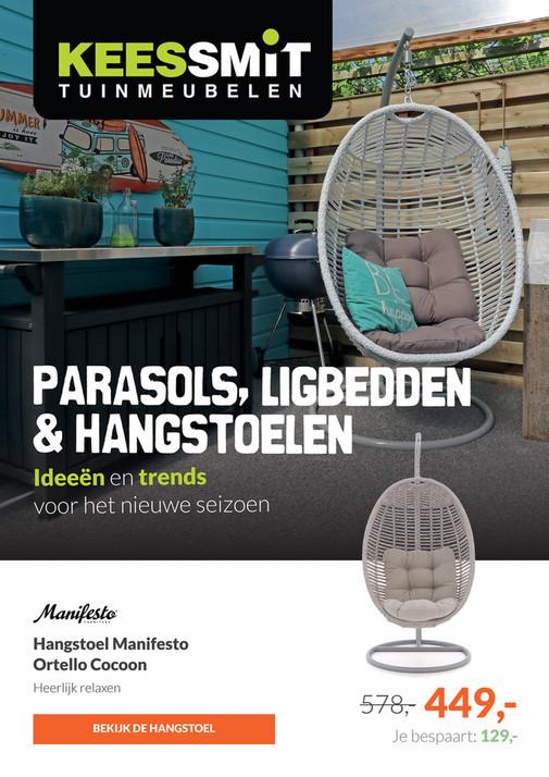 Hangstoel Met Parasol.Kees Smit Parasols Ligbedden Hangstoelen Voor Reclamefolder Nl