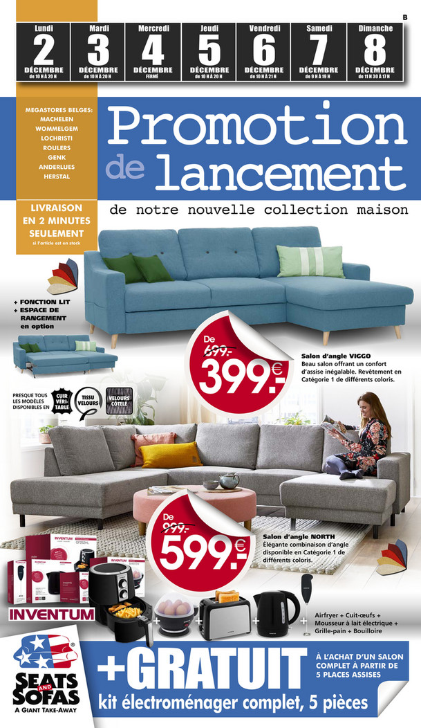 Folder Seats and Sofas du 02/12/2019 au 08/12/2019 - Promotions de la semaine 49