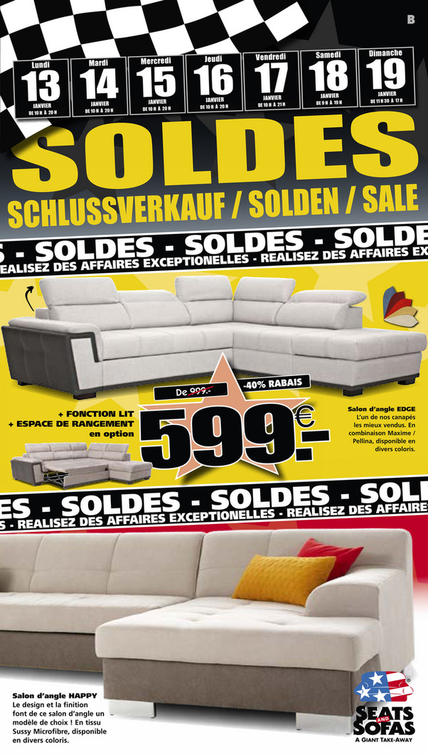 Folder Seats and Sofas du 13/01/2020 au 19/01/2020 - Promotions de la semaine 03
