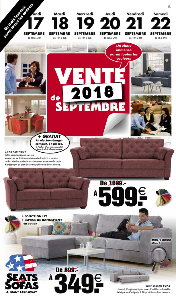 Folder Seats and Sofas du 16/09/2018 au 22/09/2018 - Promotions de la semaine 38