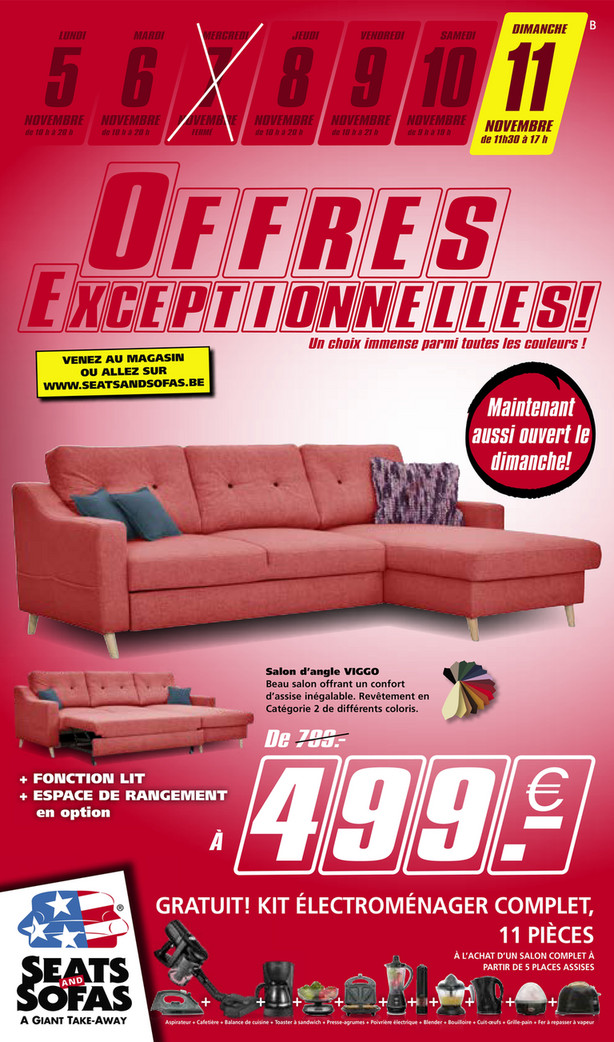 Folder Seats and Sofas du 05/11/2018 au 11/11/2018 - promotions de la semaine 45
