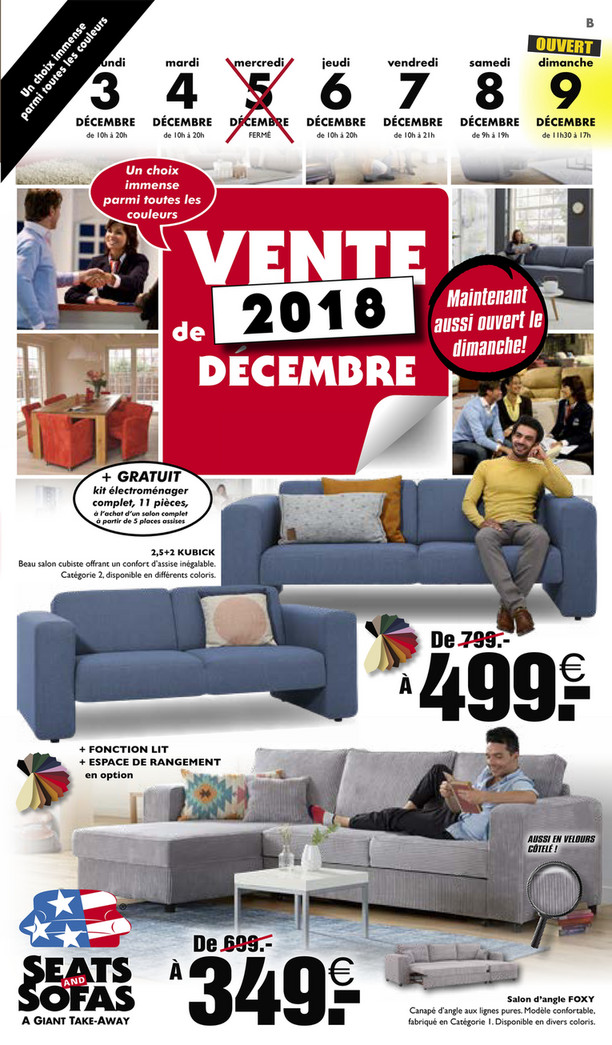 Folder Seats and Sofas du 03/12/2018 au 09/12/2018 - promotions de la semaine 49