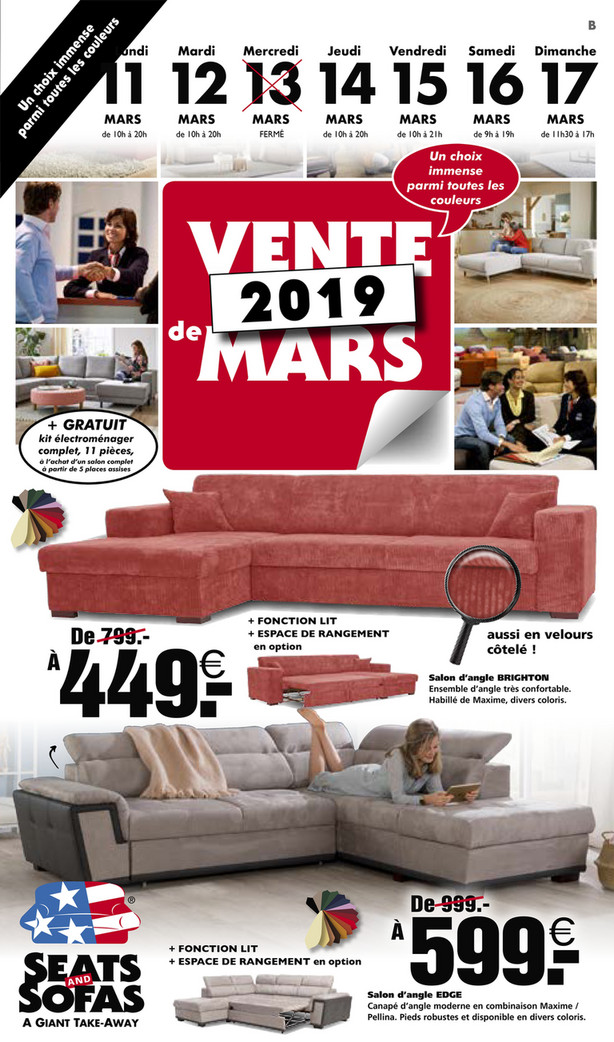 Folder Seats and Sofas du 11/03/2019 au 17/03/2019 - Promotions de la semaine 11