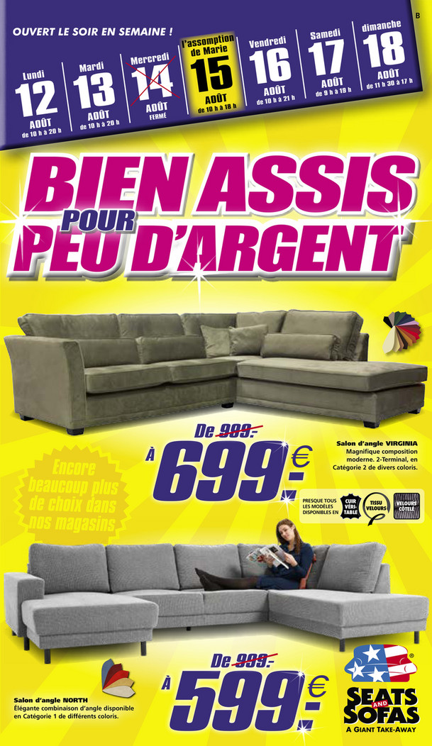 Folder Seats and Sofas du 12/08/2019 au 18/08/2019 - Promotions de la semaine 33
