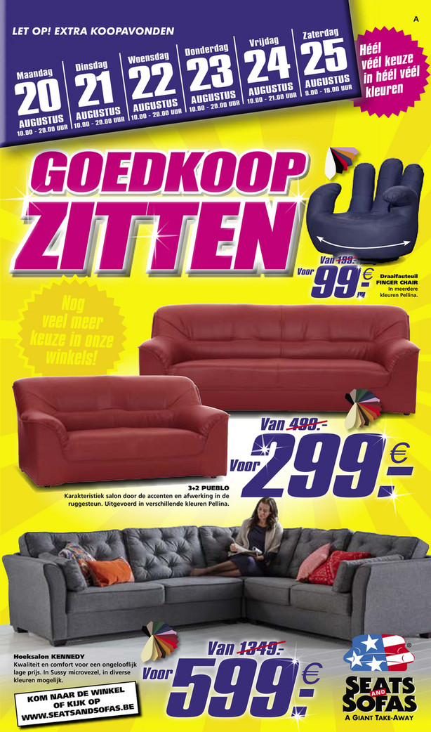 Seats and Sofas folder van 18/08/2018 tot 25/08/2018 - Promoties van de week 34