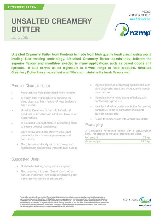 NZMP - Product Bulletin - Unsalted Creamery Butter EU QUOTA