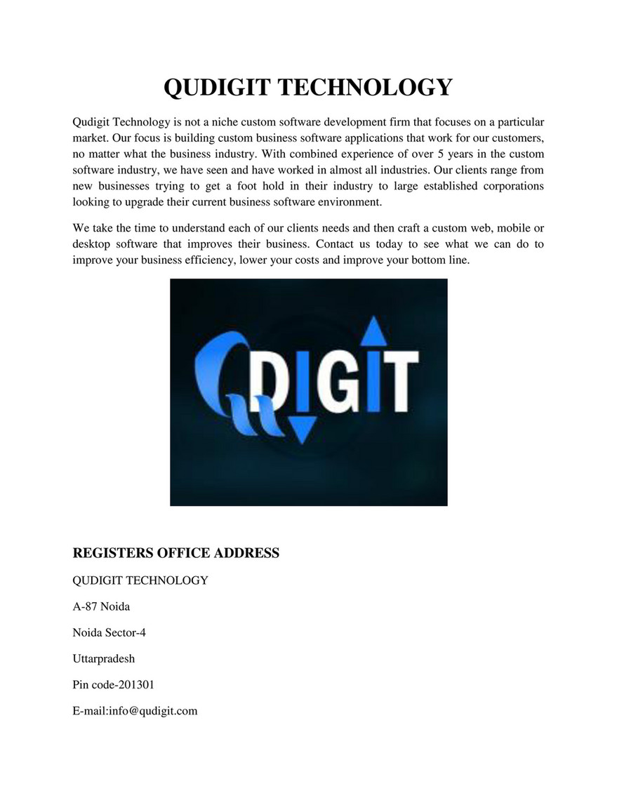 Qudigit Technology - web development company - Page 1