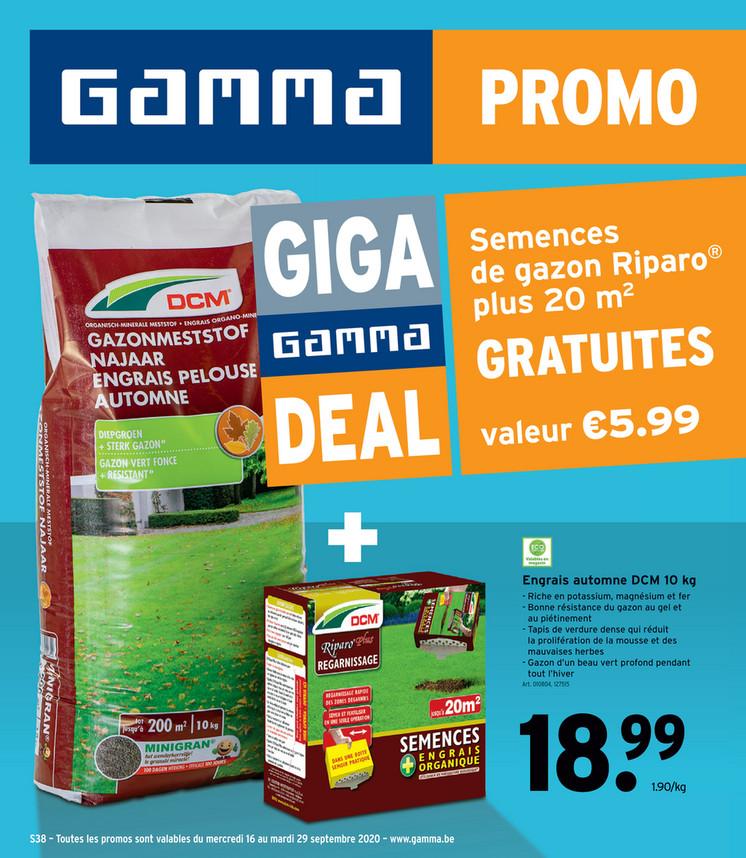 Folder Gamma du 16/09/2020 au 29/09/2020 - Promotions de la semaine 38