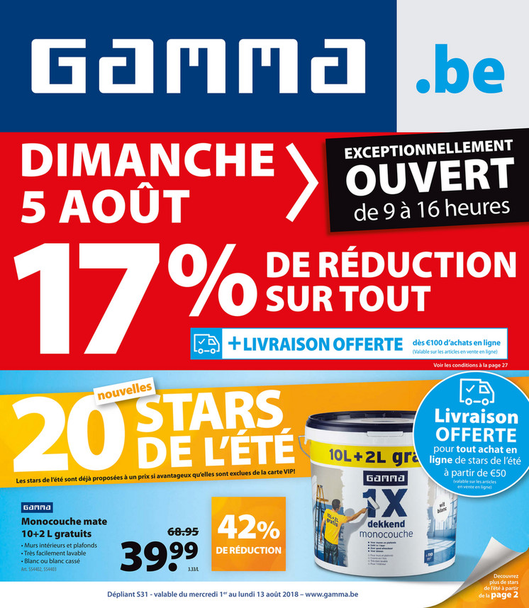 Folder Gamma du 01/08/2018 au 13/08/2018 - Promotions de la semaine