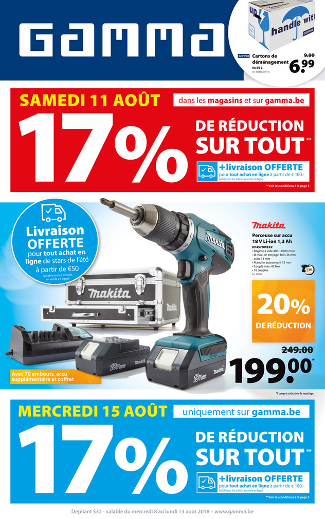 Folder Gamma du 08/08/2018 au 13/08/2018 - Promotions de la semaine