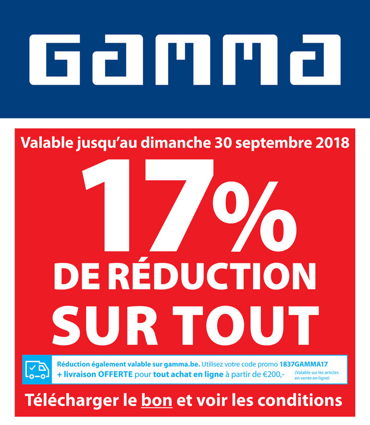 Folder Gamma du 15/09/2018 au 30/09/2018 - Promotions de la semaine 38