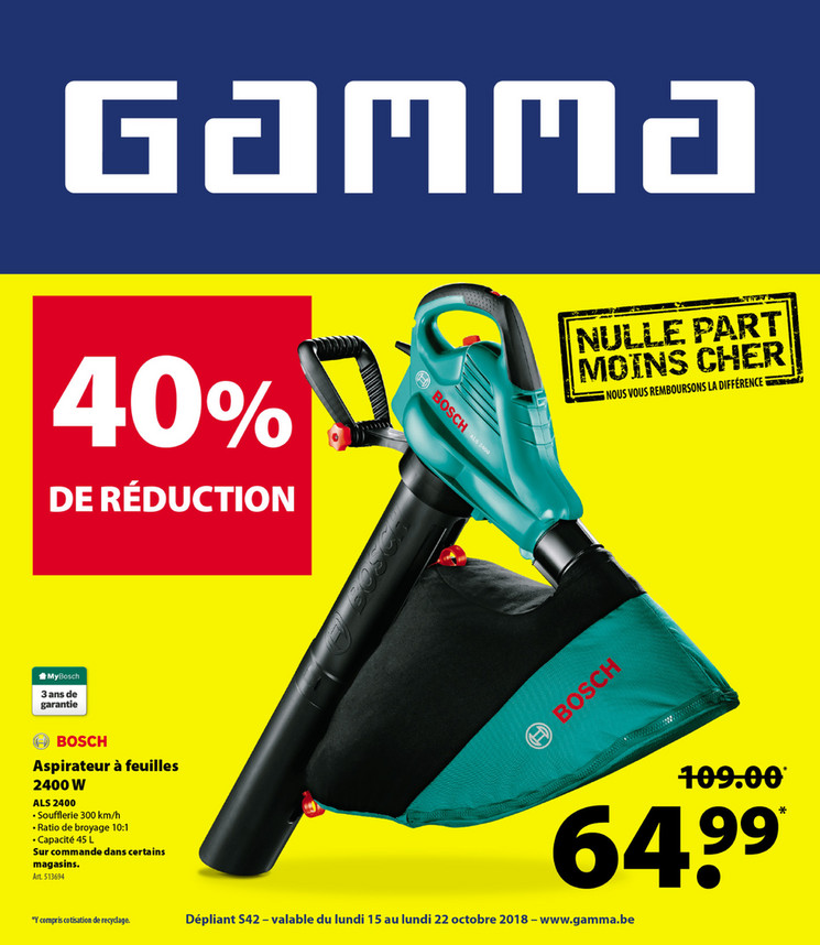 Folder Gamma du 15/10/2018 au 22/10/2018 - Promotions de la semaine 42