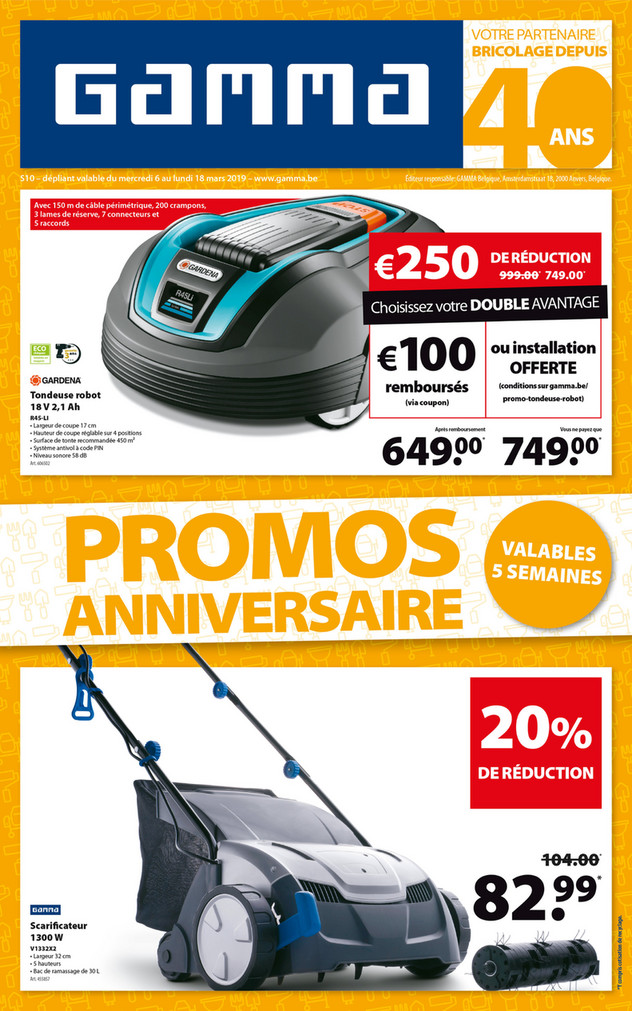 Folder Gamma du 06/03/2019 au 18/03/2019 - Promotions de la semaine 10