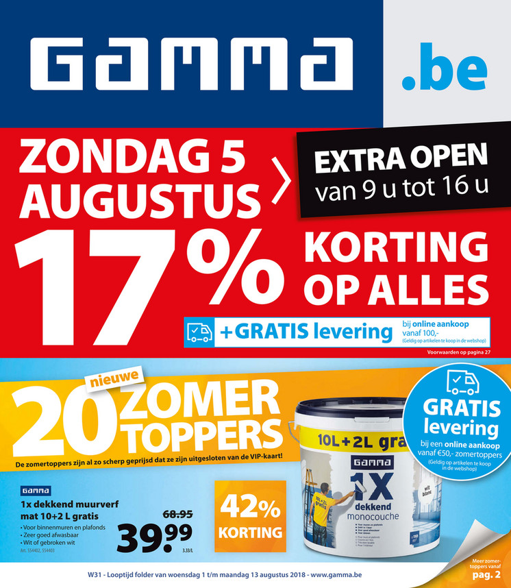 Gamma folder van 01/08/2018 tot 13/08/2018 - Weekpromoties