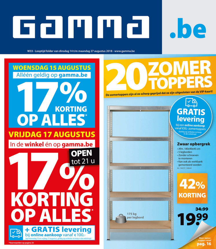 Gamma folder van 14/08/2018 tot 27/08/2018 - Weekpromoties 33