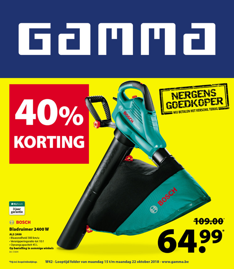 Gamma folder van 15/10/2018 tot 22/10/2018 - Weekpromoties 42