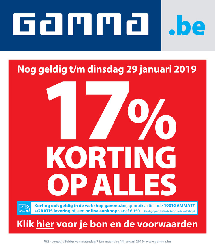 Gamma folder van 07/01/2019 tot 14/01/2019 - Weekpromoties 2