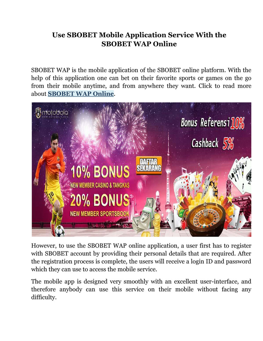 My Publications Use Sbobet Mobile Application Service With The Sbobet Wap Online Page 2 Created With Publitas Com