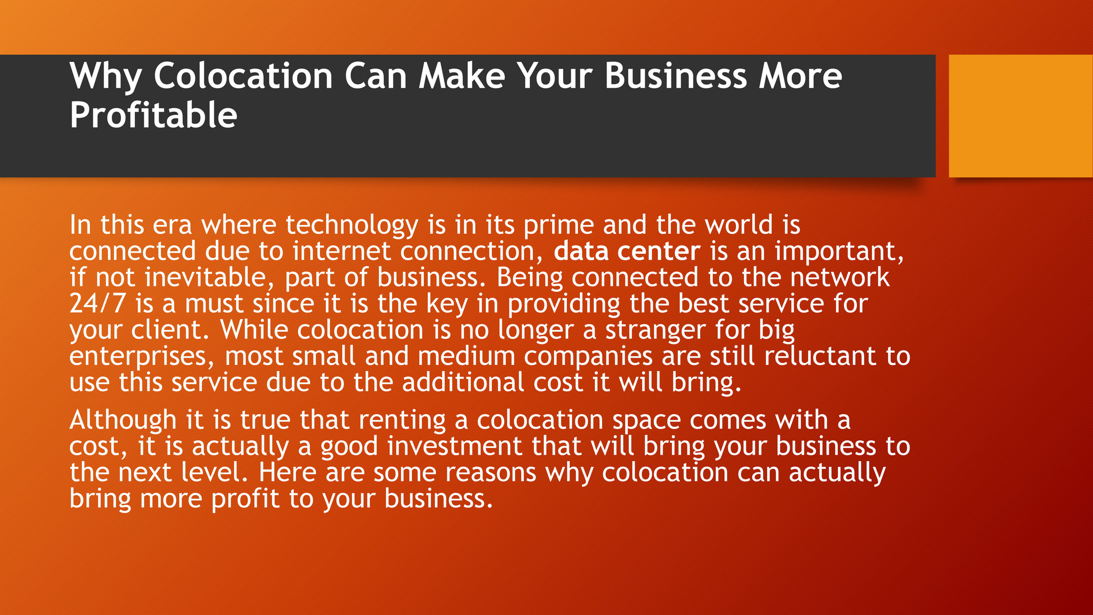 Buenoseo - Why Colocation Can Make Your Business More Profitable - Page 1 - Created with Publitas.com