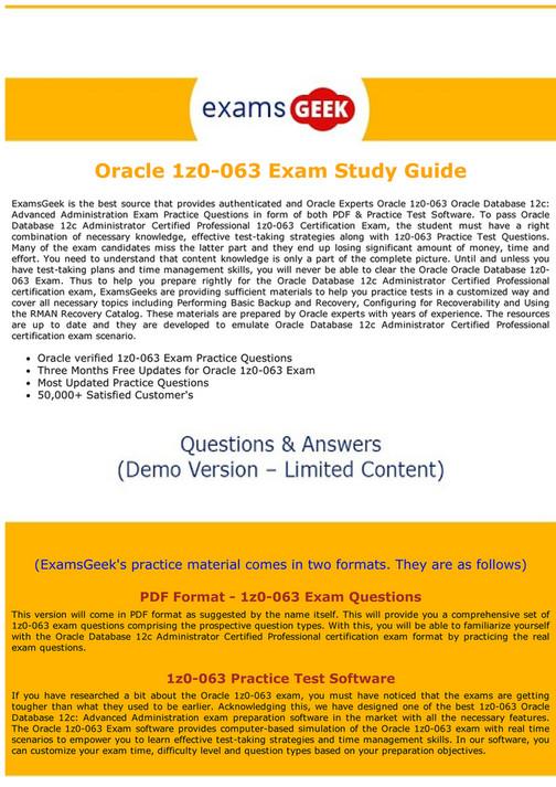My Publications 1z0 063 Dumps Pdf Oracle Database Exam Questions
