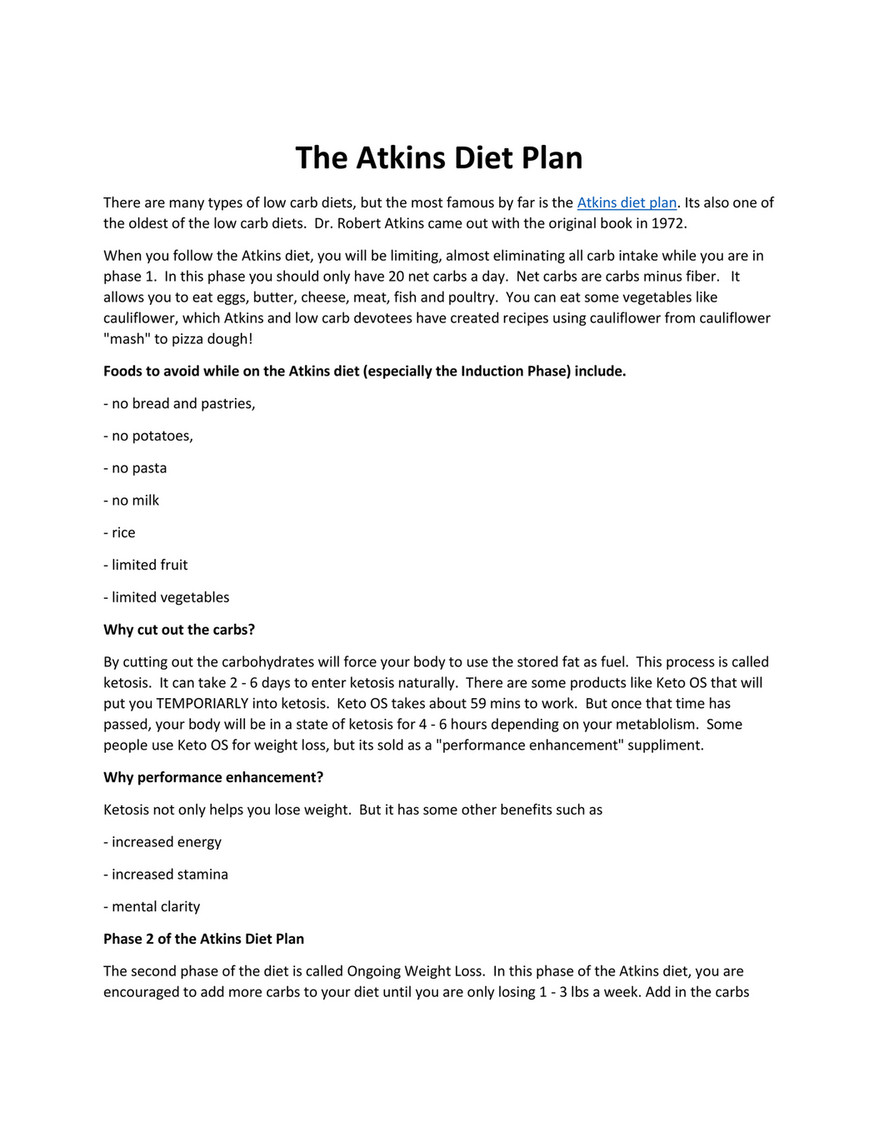 The Atkins Diet Plan There Are Many Types Of Low Carb Diets But The Most