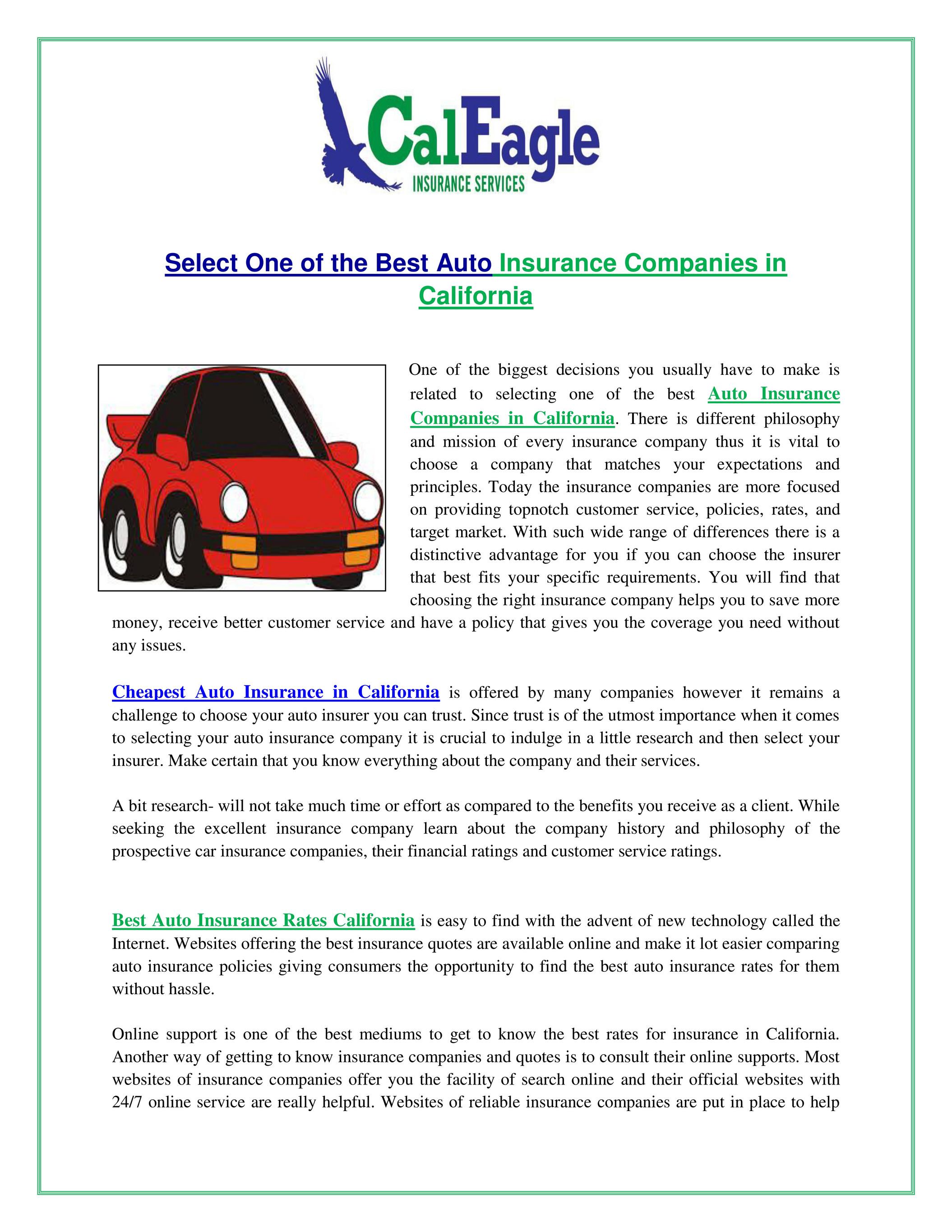 Caleagleinsurance Com Auto Insurance Companies In California Page 1 Created With Publitas Com