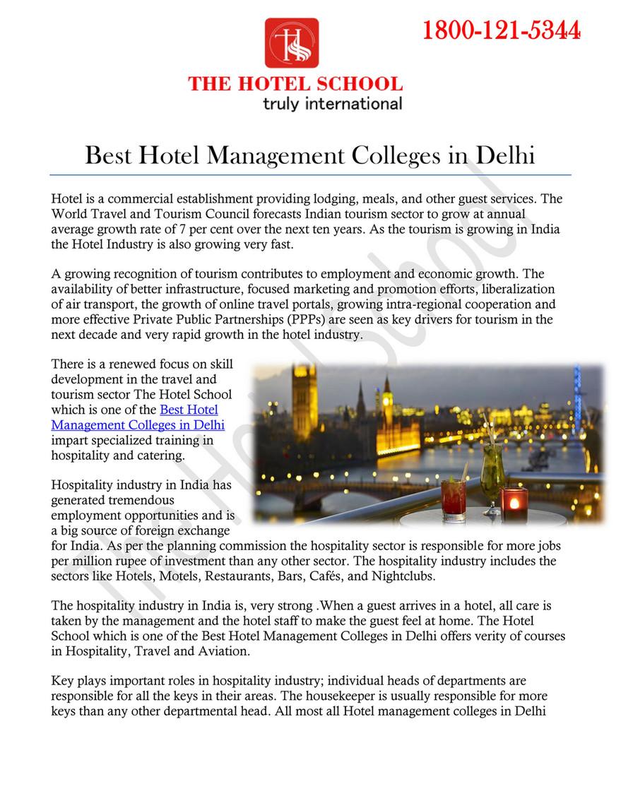 The Hotel School - Best Hotel Management Colleges in Delhi