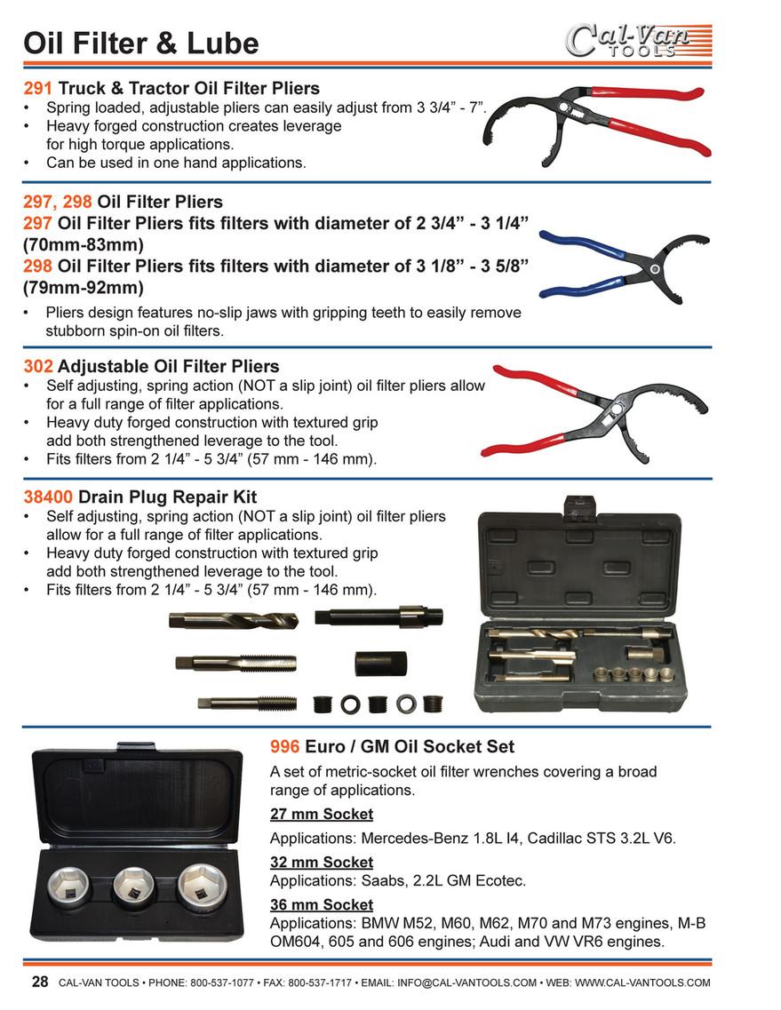 Oil System Tools Cal-Van Tools 302 Adjustable Oil Filter Plier ...