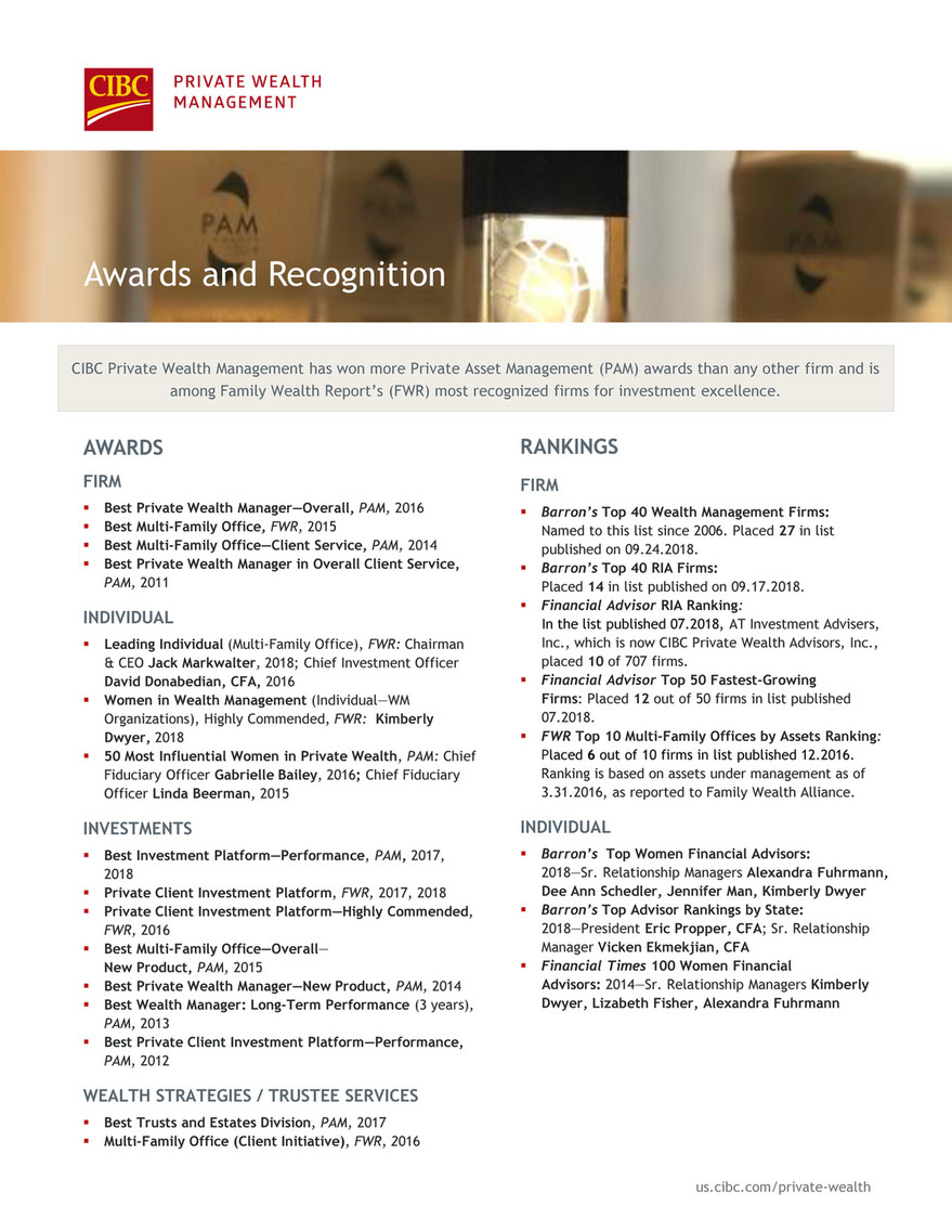 CIBC Private Wealth Management - Awards and Recognition - Page 1