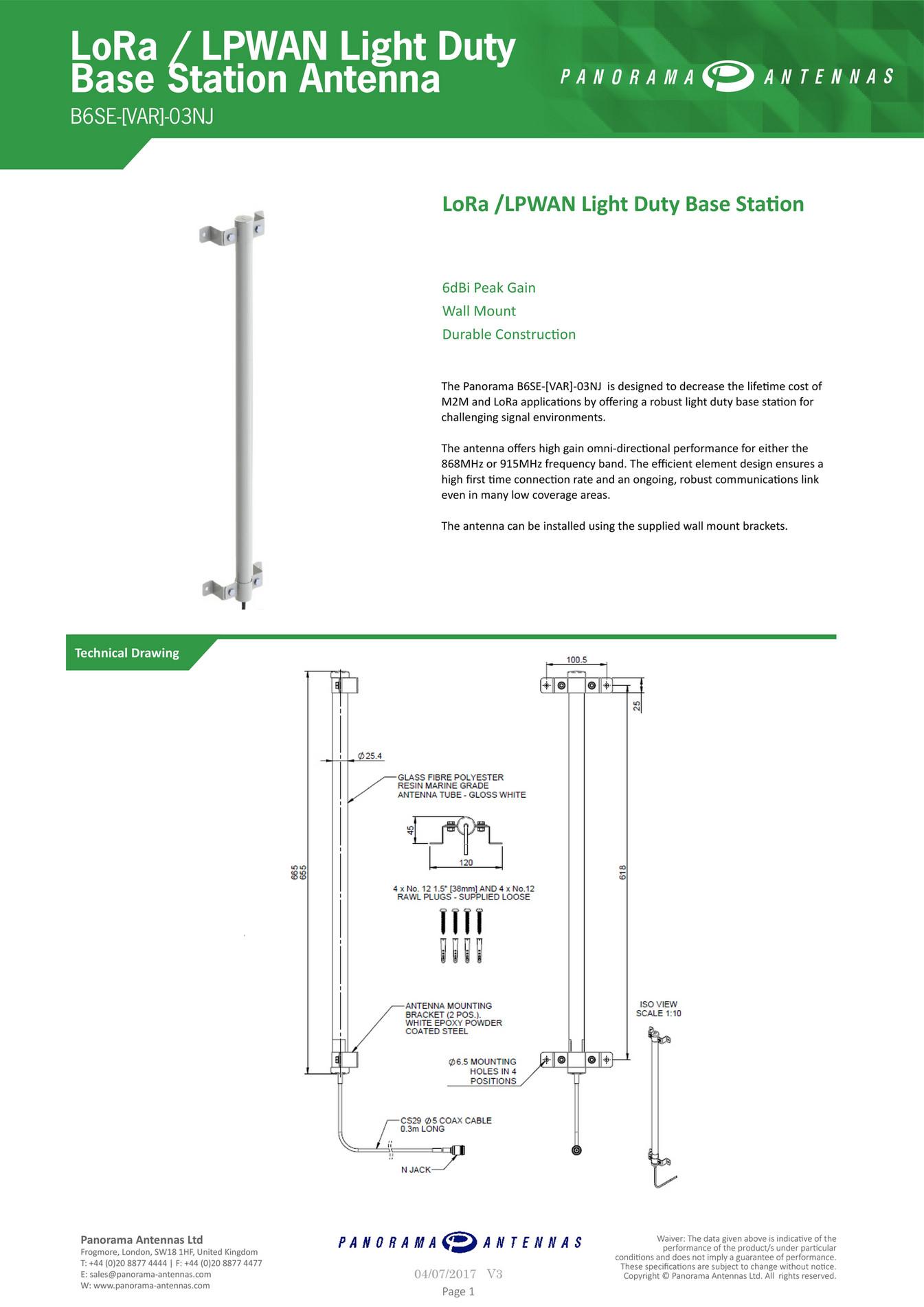 Panorama Antennas Ltd - B6SE-[VAR]-03NJ | LoRa / LPWAN Light