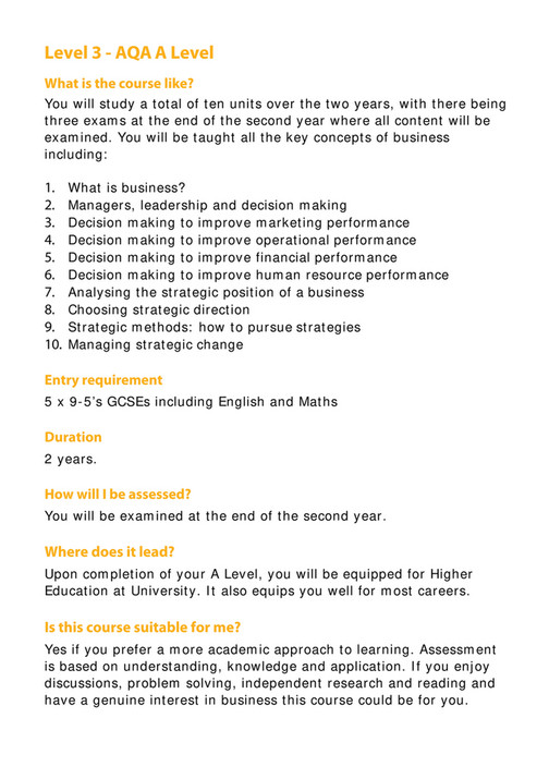 The Wellington Academy - Business Studies A level - Page 1