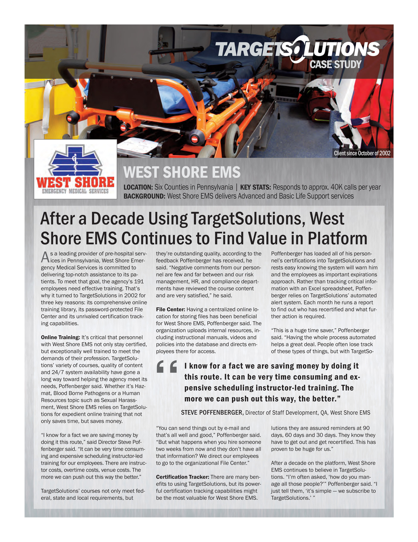 TargetSolutions - West Shore EMS Success Story - Page 1