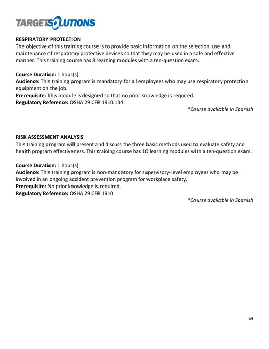 TargetSolutions - TargetSolutions Course Description Guide