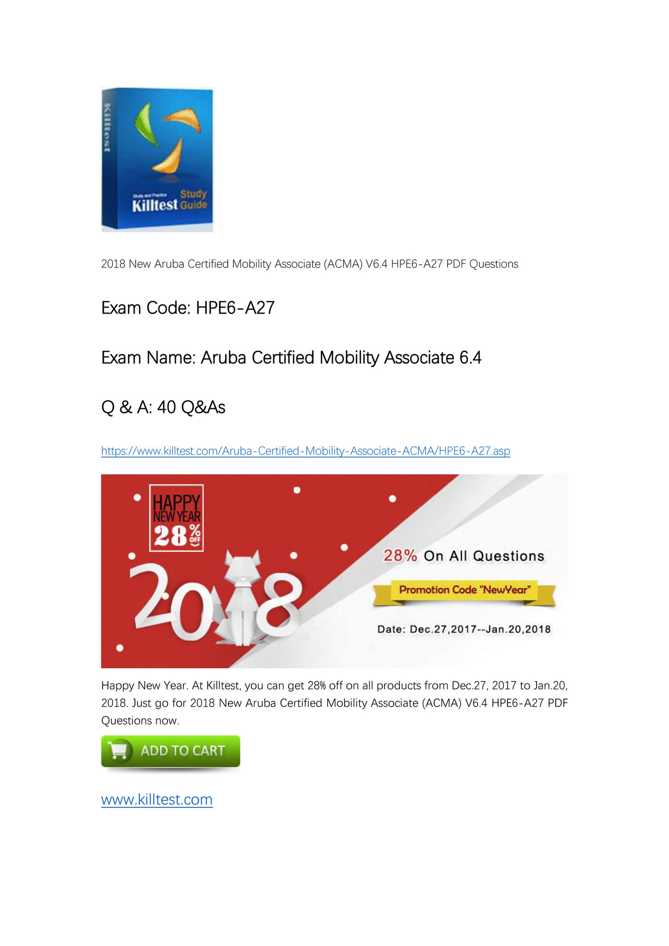 Killtest Hp Aruba Certified Mobility Associate Acma V64 Hpe6