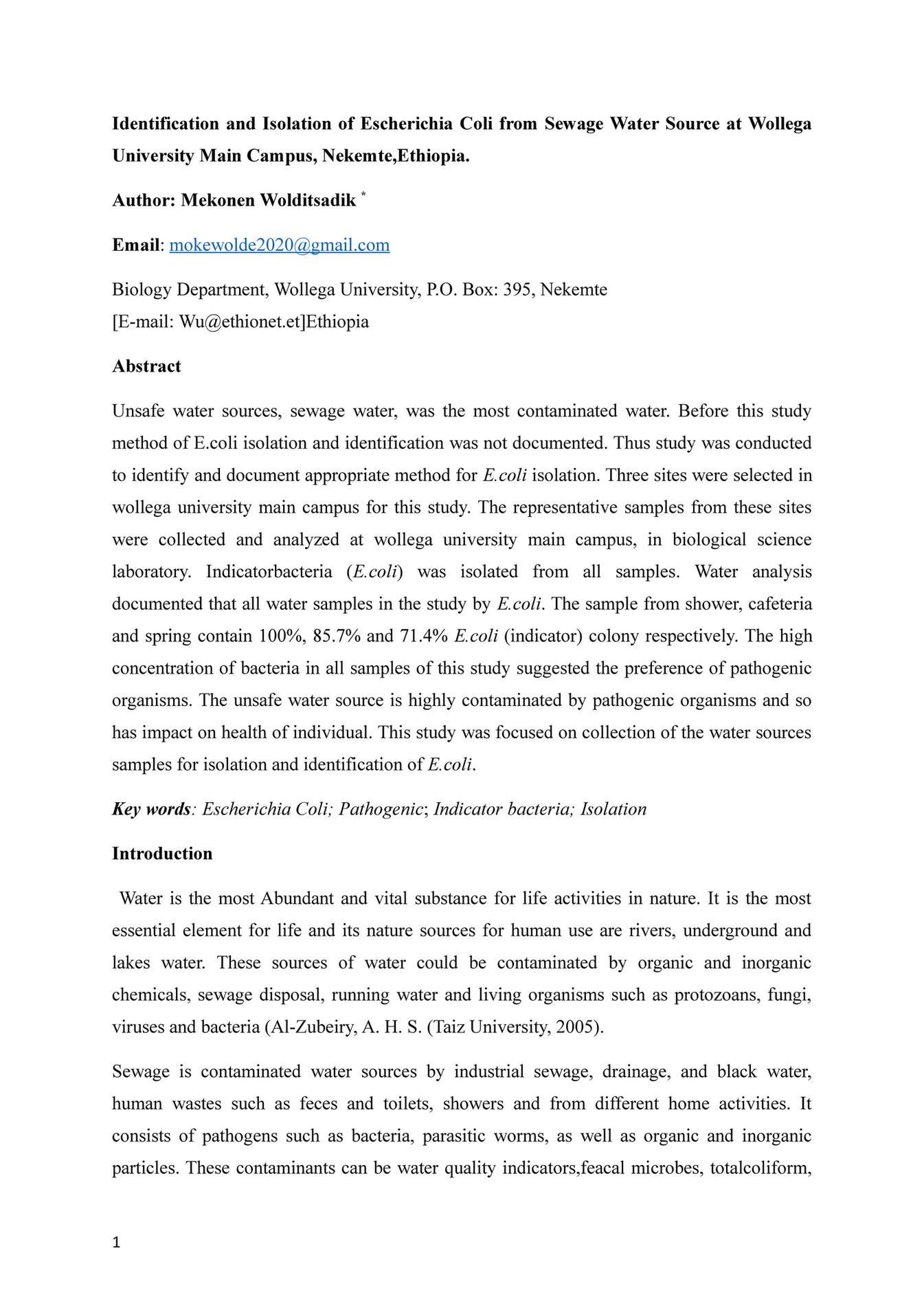 wollega Univarsity - Identification and isolation of