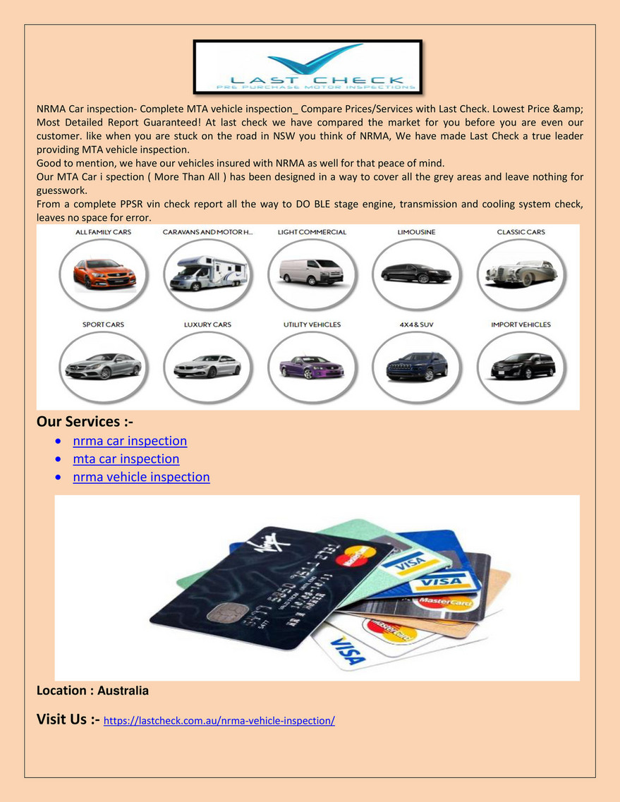 Bangupproduct Nrma Car Inspection Mta Car Inspection Last Check