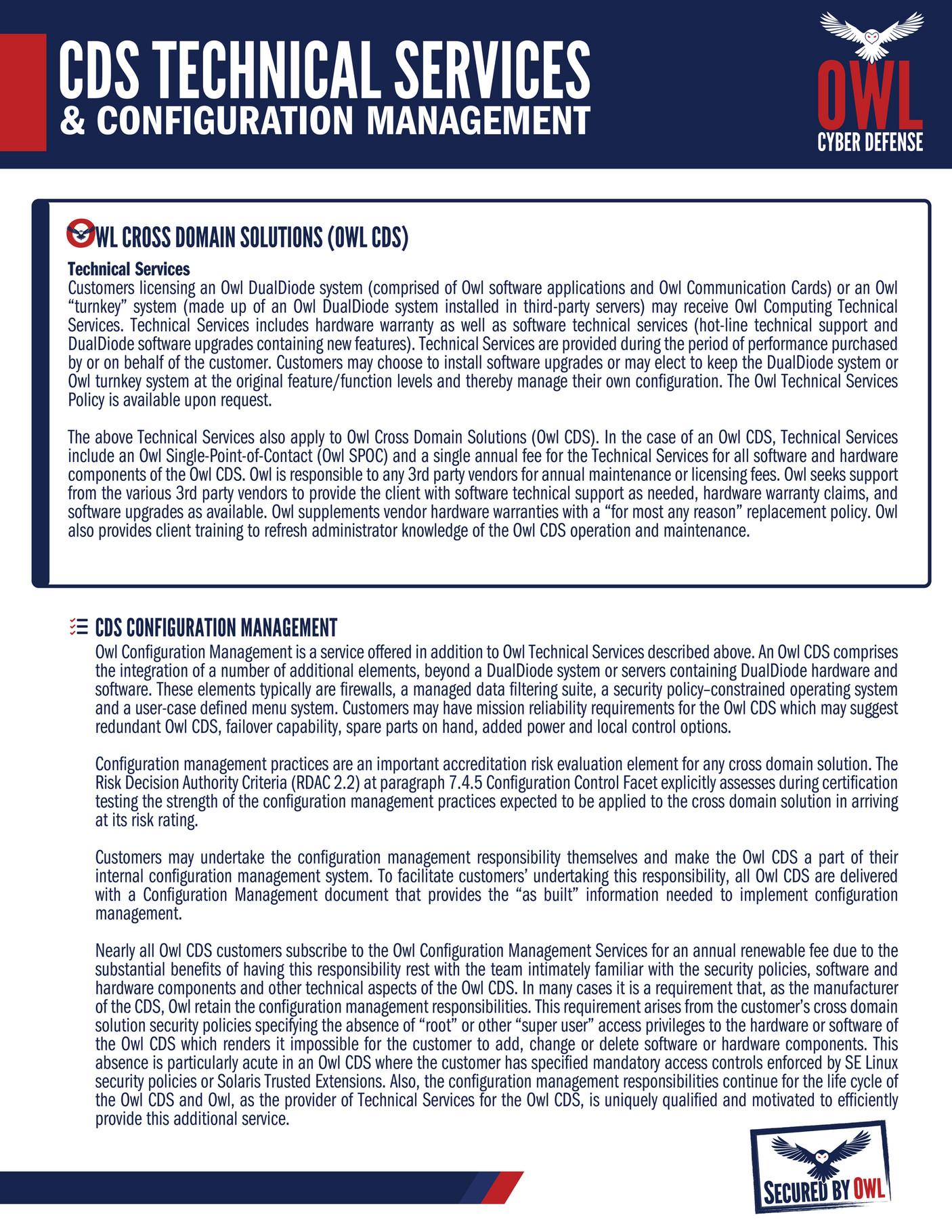 Owl Cyber Defense Services Configuration Management Page 2