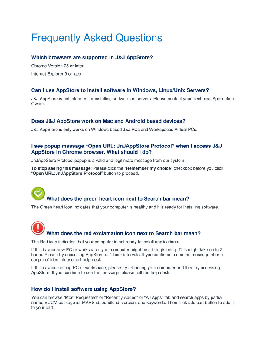 Jnj My Store >> Jnj Appstore Appstore Faq V 3 Page 1 Created With