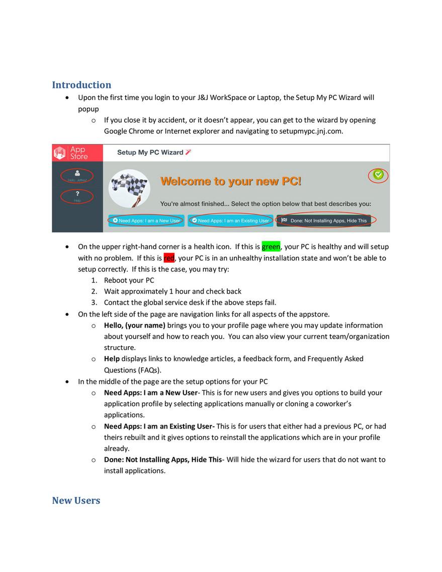 Jnj My Store >> Jnj Appstore Setupmypc Userguide V1 Page 1 Created With