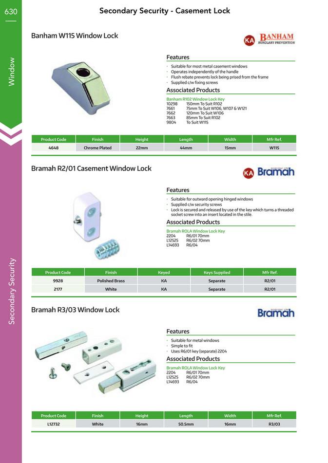 Banham Suitable A Range Of Window Lock Key R102 85mm