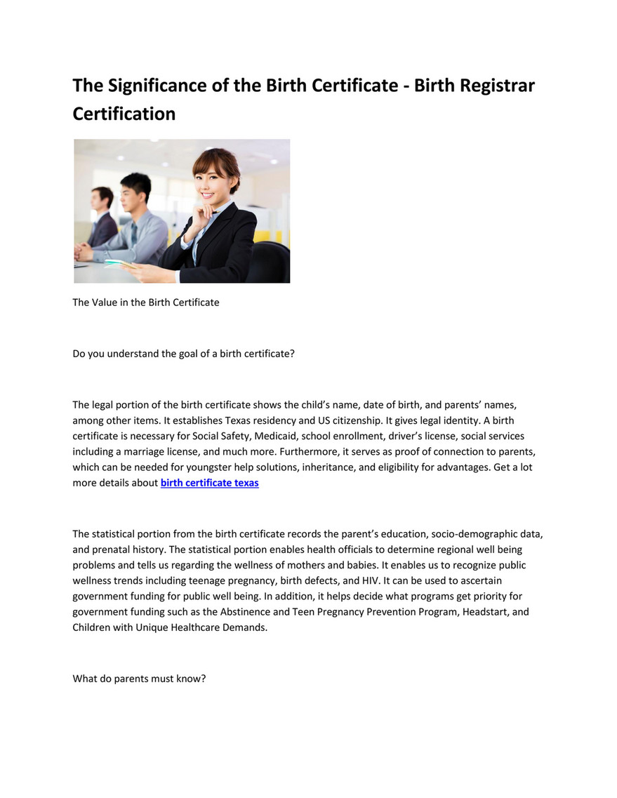 My publications - texas birth certificate - Page 1 - Created