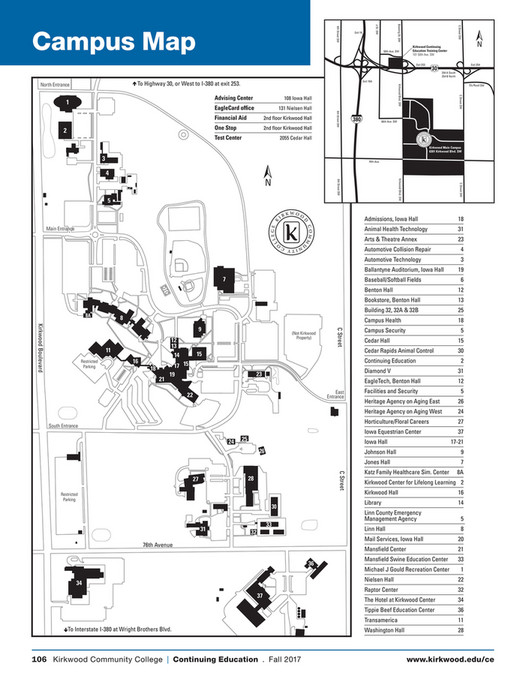 Kirkwood Community College Campus Map.Kirkwood Community College Kirkwood Continuing Education Fall 2017