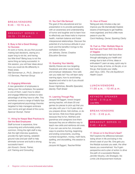 Kirkwood Community College - Beyond Rubies 2018 Brochure