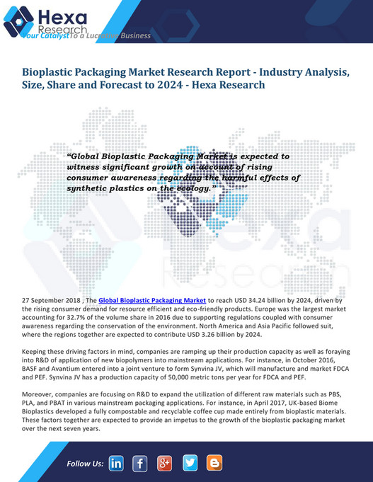 Grand View Research - Worldwide Bioplastic Packaging
